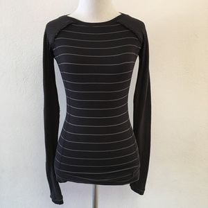 Lululemon Long Sleeve Striped Black Top Size 4